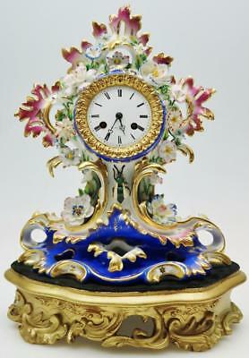 Antique French 8 Day Sevres Porcelain Mantel Clock Floral & Bee Decoration Clock