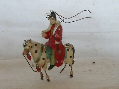 Chine Xviii Eme?miniature Exceptionnelle Terre Cuite Emaille Vernissee Cavaliere