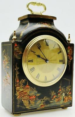 Rare Beautiful Small Antique 8 Day French Blue Chinoiserie Carriage Mantel Clock