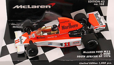NEW MINlCHAMPS MARLBOR0 MCLAREN FORD M23 J.HUNT SOUTH AFRICAN GP 1976 W/C 1/43