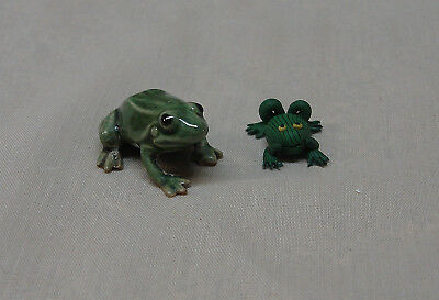 2 Miniature GREEN FROG Figurines Great Display