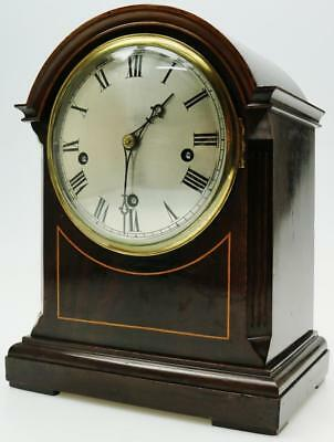 Mahogany Musical Chiming Bracket Clock Westminster 5 Coiled Gongs Mantel Clock