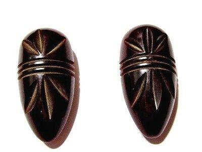 Vintage Carved Lucite Plastic Dress Clips Art Deco Styling Chocolate Brown