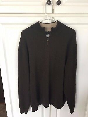 Men's Rich Brown 100% Cashmere Sweater with top zip XXL (XL) Great Condition!