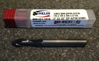 1/4 2 Flute Carbide Drill/Mill 60º ALTiN COATED MELIN TOOL EDP#51665
