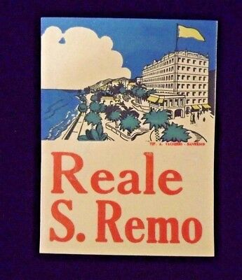 Reale S. Remo (Italy) Vintage Hotel Luggage Label EX Condition