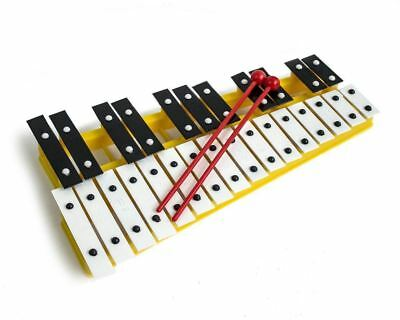 Yellow 27 Key Chromatic Glockenspiel Xylophone - Notes Engraved into Metal Keys