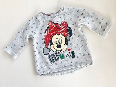 Disney Minnie Mouse Baby Girls 6-9M Christmas Xmas Festive Jumper Top Sweater