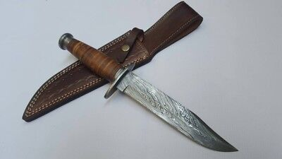 Hand Made Damascus Steel Blade Bowie Knife With Leather Sheath