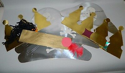 Vintage Original Bundle Of 8 Cardboard Party Hats / Crowns - Adults - Attic Find