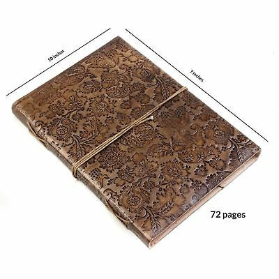 Store Indya Leather Diary Journal Planner Embossed with Floral Hardbound...