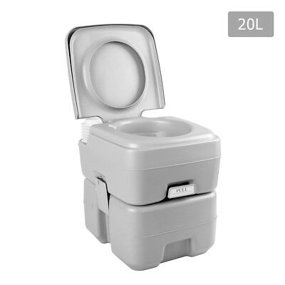 Weisshorn 20L Portable Toilet Camping Boating W/ Double Sealed Drain Valve Grey
