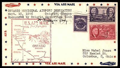 Mayfairstamps ONTARIO OR FIRST FLIGHT AM 78 SEP 28 1946 AIR MAIL COVER TO BOISE