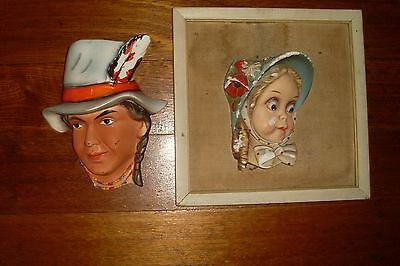 Vintage Retro Kitsch Wall Pocket/vase -American Indian & Girl Wall Plaque
