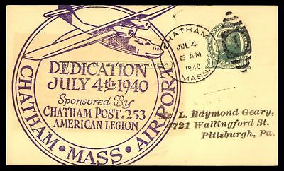 Mayfairstamps AIRPORT DEDICATION CHATHAM MA JUL 4 1940 DUPLEX 1 CANCEL ON CARD