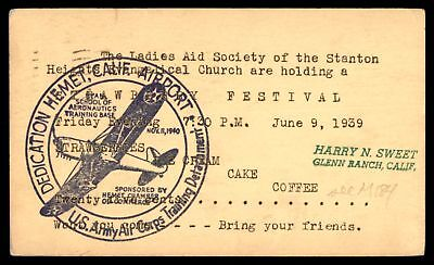 Mayfairstamps US ARMY AIR CORPS TRAINING DETACHMENT HEMET CA NOV 9 1940 WAVY CAN