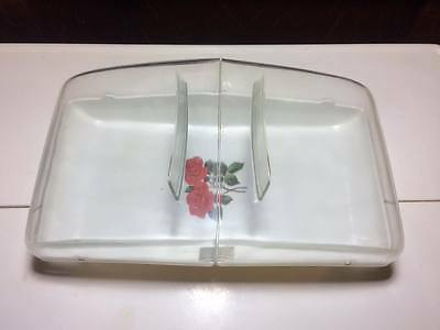 Mid century Dialene Better Maid Red Rose covered serving dish