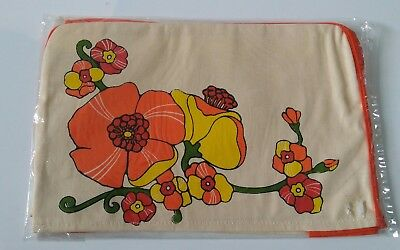 toaster cover retro vintage flowers orange beige & yellow fabric NEW