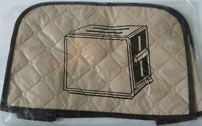 toaster cover retro vintage brown & beige vinyl & fabric NEW