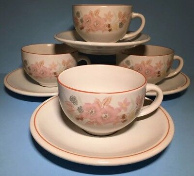 Superb Set Of Four Boots Hedge Rose Tea Cups And Saucers - Nice!
