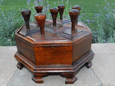 Vtg Antique Victorian Wood Sewing Trinket Box Stand Octagon Dowel Rod Handles