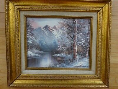 Listed Artist Original Signed Acrylic Painting Vintage Framed Canvas CHRISTMAS