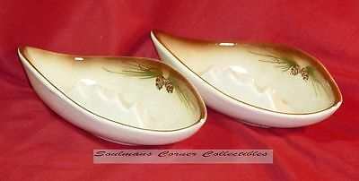 Lovely Pair Rocky Mountain ROMCO Pottery Pine Cone Ashtrays Art Deco
