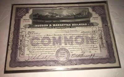 Hudson & Manhattan Railroad Stock Certificate 1941