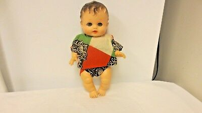 """Vintage Sunbabe So Wee Ruth E Newton 9"""" Rubber Doll-Drink/Wet-Squeaks-open/close"""