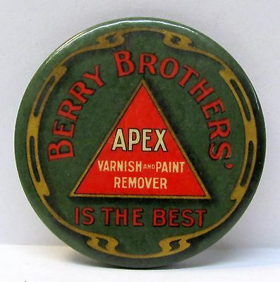 c. 1910 BERRY BROTHERS APEX Varnish & Paint Remover celluloid pocket mirror *