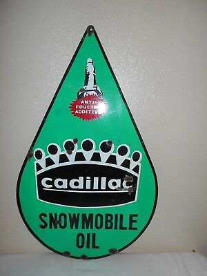 Vintage Snowmobile Oil CADILLAC Anti-Fouling Additive Metal Advertising Sign