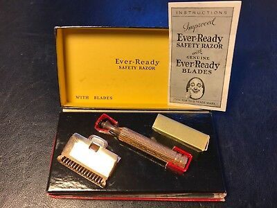 NEW, OLD STOCK, Ever-Ready Safety Razor In Box With Instructions, Vintage
