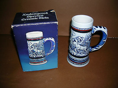 1983 Avon Endangered Species Stein In Box~Moose~Eagle~Bighorn~ Condor Etc.