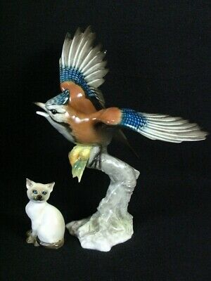 Hutschenreuther  Collection Of 4 Different Figurines Blue Jay Cat & Ducks