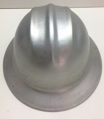 Vintage ED Bullard Hard Boiled Safety Hat Aluminum Full Brim Helmet. C1l