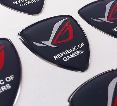 ASUS ROG Republic Of Gamers SILVER 3D domed sticker badge 30x25MM [H194]