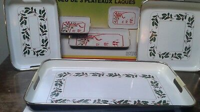 3pc. Vintage Christmas Lacquerware Tray Set