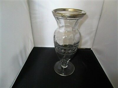 Early Silver Overlay Etched Crystal Vase