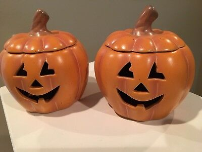 PartyLite Pumpkin Candle Holders ~ Set of 2 ~ Halloween Decoration
