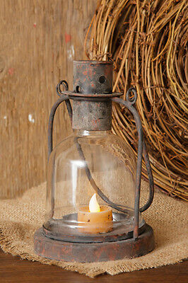Primitive Country Rustic Vintage Cast Iron & Glass Globe Candle Holder