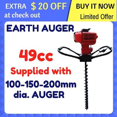 POST HOLE DIGGER AUGER 49cc POSHOLE EARTH AUGER 100, 150, 200 Drill Fence Borer