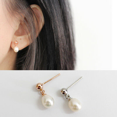 New s925 Sterling Silver Genuine Natural Freshwater Pearl Earring Stud Bead Cute