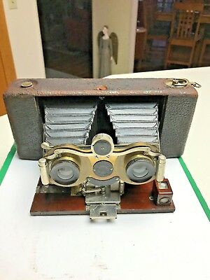 EASTMAN KODAK Hawkeye Stereo Folding Camera Model 6 Rare!