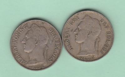 1925 Belgian Congo 50 centimes, 2 coins, Type 1 and Type 2