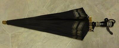 Black Umbrella Parasol Vintage maybe 1940s For Collection.