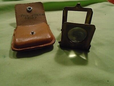 Germany made Geigy vintage jewelers glass magnifying loupe with leather case