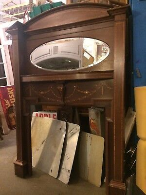 "Turn of the Century 88"" Tall Wood w/ Inlay and Mother of Pearl Detail Fireplace"