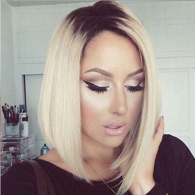 Short Straight Ombre Blonde Bob Hair Dark Roots Synthetic Side Part Wigs