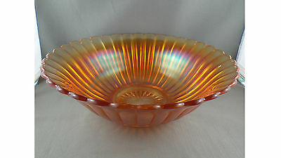 Pumpkin Marigold  Ribbed Carnival Glass Large Bowl