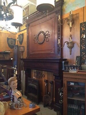 Massive 1899 Beau Arts Chicago Mansion Walnut Fireplace Mantle w/ Carved Details
